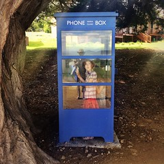 Maria Island. Telephone box. A new thing for the Smalls!