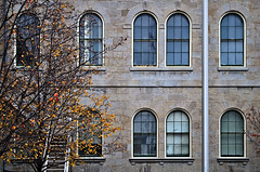 Court Side (mpardo.photo) Tags: courthouse theatre stcatharines building windows flagpole autumn pentaxart darktable cc0