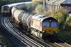 Eastleigh - 28/11/08 (davekirwinphotography (Railway)) Tags: class66 shed ews dbc dbs oiltankstta wagon oil tanks fawley bristol plymouth eastleigh 6v62