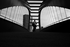 /i\ (maekke) Tags: zrich kreis5 bridge urban architecture pointofview pov humanelement man symmetry streetphotography bw noiretblanc fujifilm x100t 2016 ch switzerland