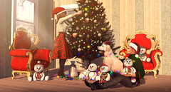 Getting ready for the Christmas (meriluu17) Tags: christmas tree christmastree couple love dog animal light lights indoor people snowman snowmans toy gift box present december snow magic