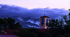 Santa Catalinas and Steeple (Dawnsview) Tags: mountains clouds trees cold weather arizona blue bright black colors city cityscape dawnsview dawn desert light k5 sky landscape morning nature outdoors pentax sunrise storm tucson view visit