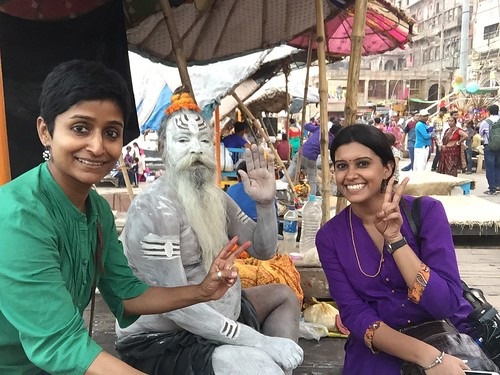 Enjoy The New Normal with a friend and a Yogi. Looking At Camera Smiling Women Outdoors Cultures IPhone Varanasi Ganga River Taking Photos Iphonephotography Ganga Ghat UttarPradesh Varanasidiaries One Man Only India Sadhu Of India Friends Bodypainting Sad