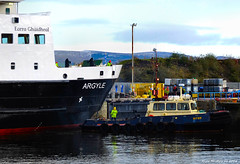 Scotland Greenock car ferry Argyle leaving dry dock 18 November 2016 by Anne MacKay (Anne MacKay images of interest & wonder) Tags: scotland greenock caledonian macbrayne car ferry argyle dry dock ship tug workmen xs1 18 november 2016 picture by anne mackay