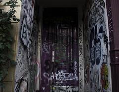 Kreuzberg, Berlin (lady_barbona) Tags: berlin kreuzberg door streetart street urban urbanart graffiti colours gold purple house building