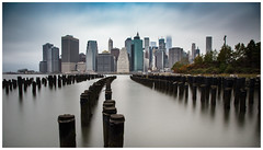 From Brooklyn Bridge Park. (joseph_donnelly) Tags: usa newyork manhatten brooklyn bridge park view city cityscape fog mist nd time