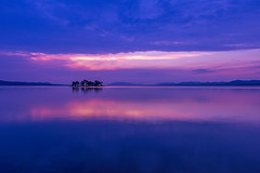 sunset 2305 (junjiaoyama) Tags: japan sunset sky light cloud weather landscape blue purple pink colour lake island water nature fall autumn reflection