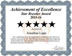 Jonathan_Lapp_Star_Breeder_Certificate (bobyarnall) Tags: jonathan lapp dog breeder jonathanlappdogbreeder