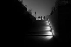 a foggy night (Hendrik Lohmann) Tags: fog nightshot night nikon street streetphotography strassenfotografie strase menschen hendriklohmann dsseldorf df