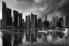 appearing mirage (draken413o) Tags: singapore marina bay city cityscapes skylines skyscrapers urban places scenes moody drama rain wet reflections vertorama irix blackstone monochrome asia travel destinations