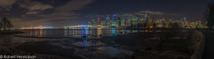 Vancouver Nightscape-32 (Robert Henrickson) Tags: vancouver skyline cityscape panorama longexposure deadmansisland stanleypark coalharbour lowtide reflections nighttime explorebc supernaturalbritishcolumbia ocean water clouds