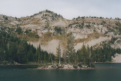 Chimney Lake 4, Eagle Cap Wilderness 2016 (Sara J. Lynch) Tags: sara j lynch eagle cap wilderness wallowas eastern oregon chimney lake nikon 35mm film island trees francis bowman trail