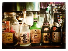 Drinks are on The House (chuo104) Tags: japan bar restaurant tokyo counter bottles drinking sake alcohol  kichijoji iphone  iphonography