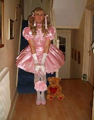 pink satin (shellyanatine) Tags: pink dress crossdressing sissy petticoat frilly