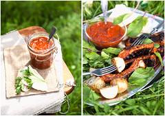 Roasted pork ribs with tomato sauce (AlenaKogotkova) Tags: food nature vegetables photo potatoes picnic sauce meat ribs parsley tomatosauce meatsauce porkribs foodstyling