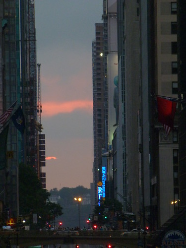 Cloudy Manhattanhenge on 42nd Street