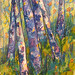 """Birches,"" mixed media. Artist: Lynne Taylor. This work is on display at the new North of Adirondacks Arts Council gallery on East Main St. in Malone, NY."