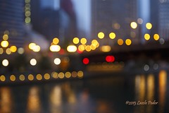 Chicago Lights (laszlofromhalifax) Tags: city usa chicago lights illinois bokeh unitedstatesofamerica dizzy chicagoriver dontdrinkanddrive