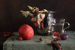 October Caprice (panga_ua) Tags: autumn red fall water reflections october plum pomegranate chrome fading fallenleaves withering glasscup kalyna guelderroseberries flaxencloth platedcasserolewithhandle octobercaprice
