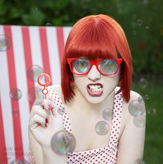 Bubble Girl (my.fav.fotos) Tags: red cute girl glasses bubbles blowing blow redhead bubble redrims
