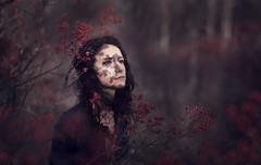 Falling Shadows (Rob Woodcox) Tags: autumn red portrait black fall girl beauty forest dark hair scary model moody berries shadows gorgeous creepy robwoodcox robwoodcoxphotography sarahannloreth