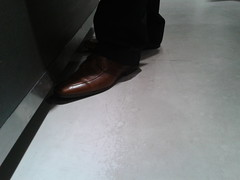 Hidden Camera - Brown Dress Shoes 03 (TBTAOTW2011) Tags: camera brown man feet leather businessman silver daddy shoe grey shoes dress candid coat business suit hidden belly mature fox