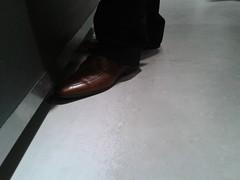 Hidden Camera - Brown Dress Shoes 03 (TBTAOTW2011) Tags: camera brown man feet leather businessman silver daddy shoe grey shoes dress candid coat business suit hidden belly mature fox