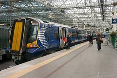 """First Scotrail Siemens Class 380 """"Desiro"""" DMU No. 380102 at Edinburgh Waverley on 24 Sep 2013 (A Scotson) Tags: scotland siemens scottish first railway scotrail dmu edinburghwaverley class380desiro"""