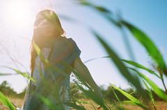 #Flickr12Days (summer_77) Tags: blue light sun film girl 35mm leaf mood dress contax g2 45mm flickr12days