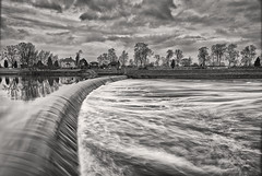 Cromwell Weir (Andrew Squires) Tags: nottingham uk longexposure cloud reflection tree water sepia river grey power lock gray wideangle trent newark curve cromwell weir notts leadin