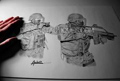 DessinsTactiques - Dessin Original Police Binme d'Assaut du RAID / FIPN (Part II) (DessinsTactiques.com) Tags: backup france artwork gun drawing dessin grenades micro pistol crayon raid weapons crosse nra commando feuille 9mm specialforce