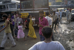 crossing the street in Kolkata 000380 copy (Linda Schaefer photography) Tags: street city india color bus film nikon streetphotography scene kolkata sari lindaschaefer