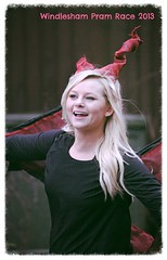 DragonGirl (pg tips2) Tags: christmas street charity uk cruise winter red portrait england people woman holiday black girl smile face race fun happy costume wings pretty december dragon cosplay folk candid boxingday run surrey event blonde booze local annual junebug fancydress outfits pram   dragongirl pramrace 2013 windlesham  dragonqueen