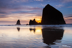 Sunset at Cannon Beach (Don Geyer) Tags: ocean winter sunset sea wild usa sunlight nature water ecology sunshine oregon landscape outside outdoors evening coast landscapes us scenery unitedstates natural outdoor or scenic sunsets sunny pacificocean environment coastline oceans wintertime cannonbeach brilliant winters scenics evenings seas saltwater brilliance coasts ecosystem coastlines environments oceanic ecosystems uncultivated wintertimes sunsetabovehaystackrockandseastacks