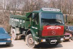 Ebenezer Mears 1025 ; F423OPJ . Mercedes Benz tipper . Byfleet yard  early 89. (busmothy) Tags: