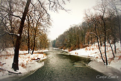 While I Wait For Spring (socalgal_64) Tags: trees winter snow cold ice nature water river landscape stream pennsylvania snowy pa icy stark snowfall lehighvalley winterscape schnecksville carolynlandi