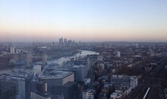 The Magic Hour Is Now (A Touch Of Madness) Tags: cameraphone london londonbridge wintersunset riverthames iphone wintersun noediting londonskyline oblix 72ndfloor londonskies iphone5 theshard atouchofmadness iphoneography uploaded:by=flickrmobile flickriosapp:filter=nofilter theviewattheshard