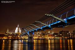 The London Millennium Footbridge  with Saint Paul's cathedral (Nigel Blake, 14 MILLION...Yay! Many thanks!) Tags: city uk england london saint night with cathedral footbridge pauls millennium the nigelblake nigelblakephotography