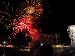 White Merlion as the silent witness of midnight fireworks show (hastuwi) Tags: vacation holiday festival festive geotagged singapore nightshot fireworks chinesenewyear firework cny merlion singapura imlek libur liburan yearofthehorse sincia tahunbarucina kembangapi singalaut
