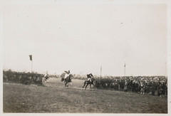 Crowd watches a horse race (simpleinsomnia) Tags: old england horses horse white black sports monochrome race vintage found blackwhite antique snapshot crowd photograph jockeys vernacular foundphotograph horserace {vision}:{outdoor}=0944