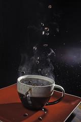 024519-57-Steaming Cup of Joe-3 (Jim,I find your lack of faith disturbing) Tags: cup coffee america drink flash plate drop mug canon5d splash speedlight foodanddrink highspeed highspeedphotography ilobsterit