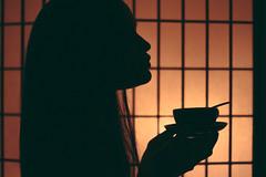 Morning Tea, Midnight Soup (sarahshootspeople) Tags: light portrait woman colors girl mystery lady asian japanese soup model warm antique bowl sake teacup anonymous tones magical silloughette makeportraits