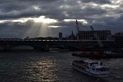 2014-05-07: One Ray Of Sunshine (psyxjaw) Tags: bridge light storm london station thames clouds train river dark evening boat ray millennium blackfriars londonist