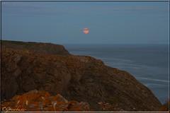 Full (Honey) Moon. Friday 13th June 2014 (Crowbuster) Tags: moon june coast strawberry cliffs full honey coastline gower friday 13th 2014 paviland crowbuster
