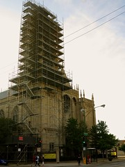 Time Lapse - St. Ita's, Edgewater, Chicago (rwchicago) Tags: summer chicago tower church evening scaffolding cathedral steeple scaffold renovation neogothic edgewater stitas