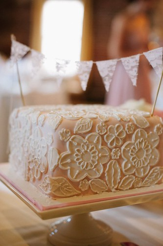Fondant Lace Cutouts Wedding Cake with pennant topper