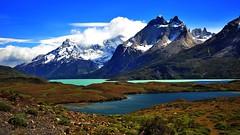 Lago Nordenskjöld, Torres del Paine NP (flowerikka) Tags: chile bridge patagonia lake water clouds island chili turquoise torresdelpaine lagonordenskjöld torresdelpainenp quernosdelpaine