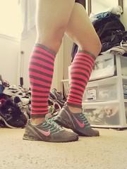 Feeling so good right now (Kicks & Stems) Tags: legs socks leggings sexy nike shoes sneakers running run knee sissy crossdresser pink stripes