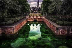 hampton court castle gardens (davidliebst) Tags: gardens water hdr symmetric colors