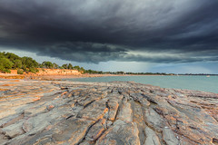 Rocks in the storm (Louise Denton) Tags: darwin nt northernterritory australia storm weather cloud shelf eastpoint coast sea ocean wetseason tropical rocks light cliffs golden fannie bay